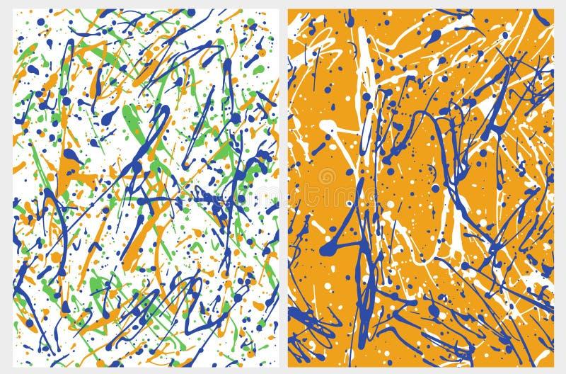 Uttrycksfulla kludd Lyrtorsk som målar stilkonst Fastställd nolla 2 abstrakta geometriska vektormodeller royaltyfri illustrationer
