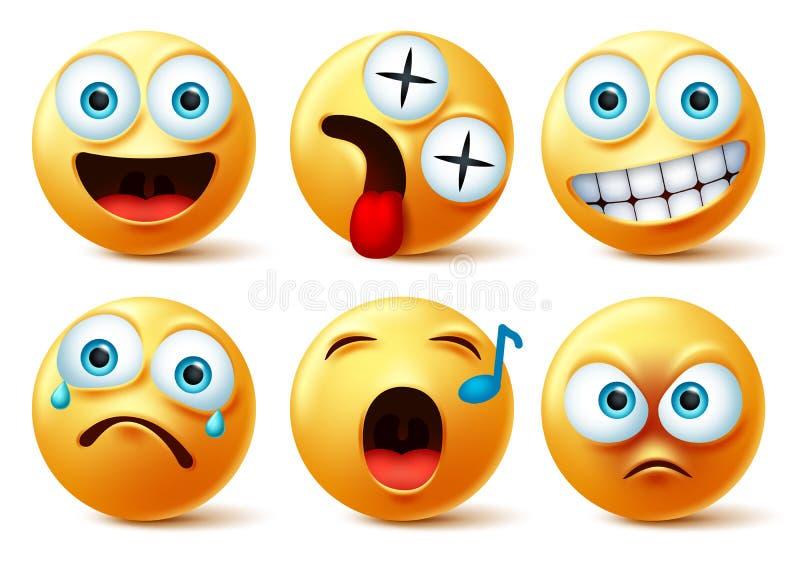 Uttrycksvektoruppsättning för Smiley emoji Smileys emojis eller emoticon, söta ansikten med glada, yr, singel, arg, överraskning, stock illustrationer