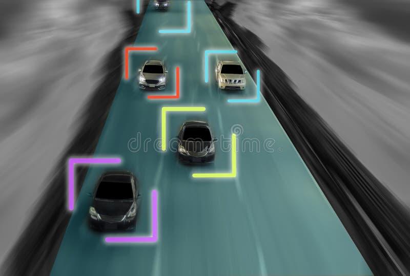 Uturistic väg av snille för den intelligenta själven som kör bilar, Arti royaltyfri foto