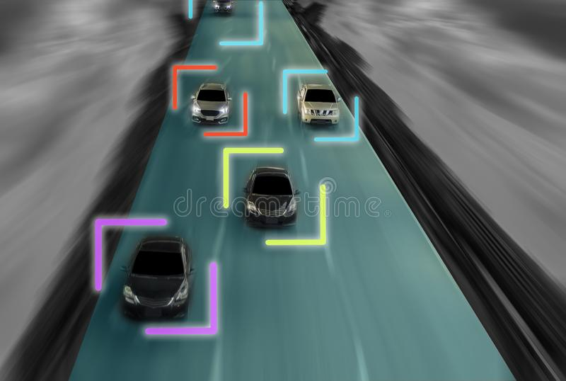 Uturistic väg av snille för den intelligenta själven som kör bilar, Arti royaltyfri illustrationer