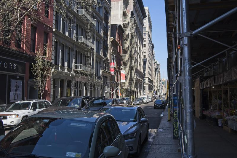 Utvändiga brandflykter i NYC fotografering för bildbyråer