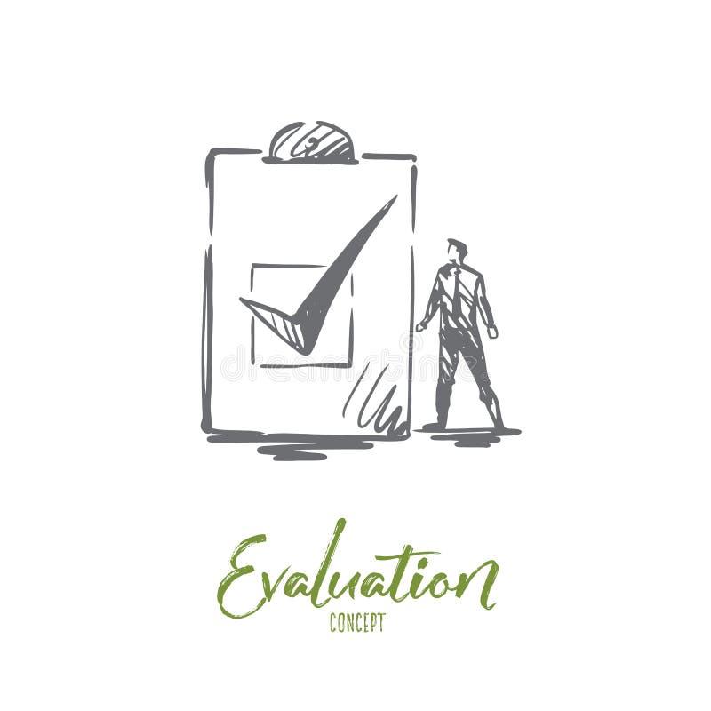 Utvärdering affär, kvalitet, tjänste- begrepp Hand dragen isolerad vektor stock illustrationer