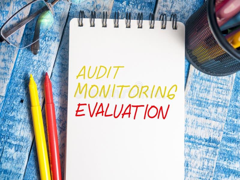 Utvärdering affärsrevision som övervakar Motivational ordcitationstecken arkivfoton