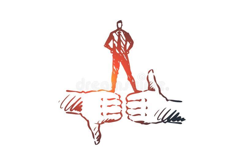 Utvärdering kund, återkoppling, kvalitets- begrepp Hand dragen isolerad vektor stock illustrationer