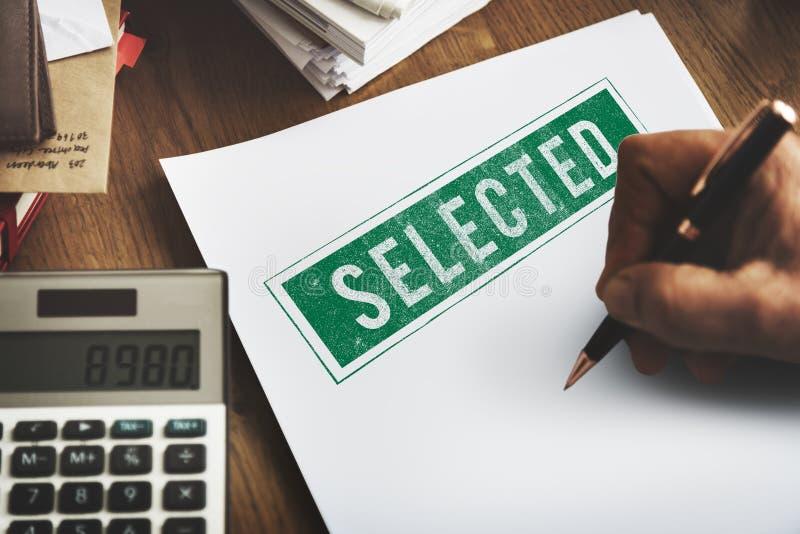 Utvalt begrepp för status för beslutsresultatval ja arkivbilder