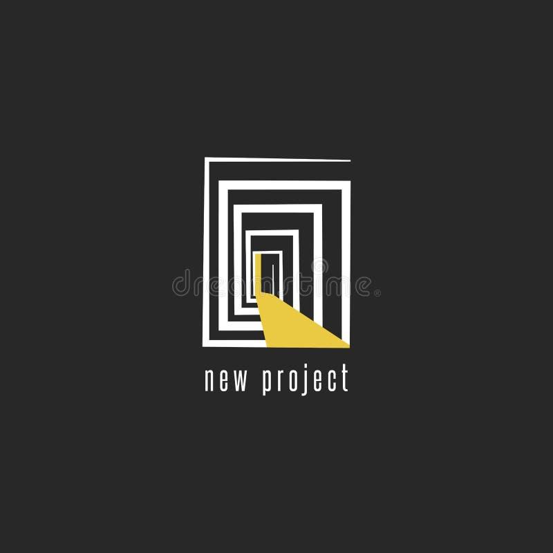 Utveckling av en ny projektlogodesign, abstrakt rum med en dörremblemmall för bärare för affärskort, idérik idé av royaltyfri illustrationer