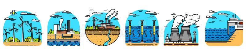 Utveckling av energi Kraftverksymboler byggnadsf?rger kontrastr h?gt industriellt St?ll in av ekologiska k?llor av elektricitet vektor illustrationer