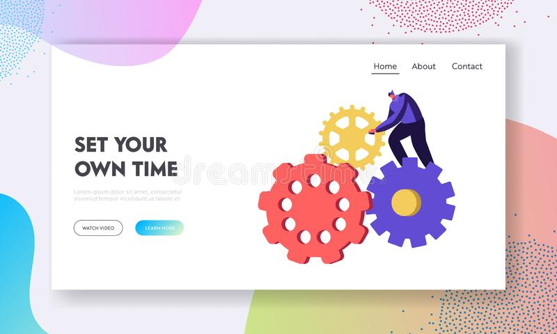 Utveckling av idéwebsiten som landar sidan, det mycket lilla manteckenet som vänder den enorma kugghjul- och kugghjulmekanismen a stock illustrationer