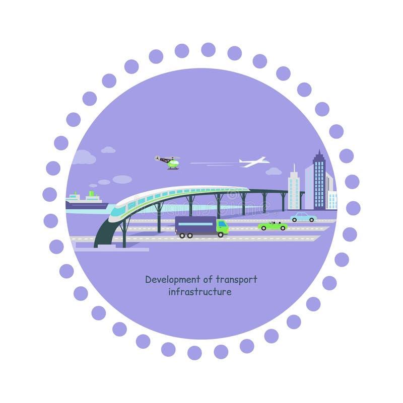 Utveckling av lägenheten för symbol för transportinfrastruktur stock illustrationer