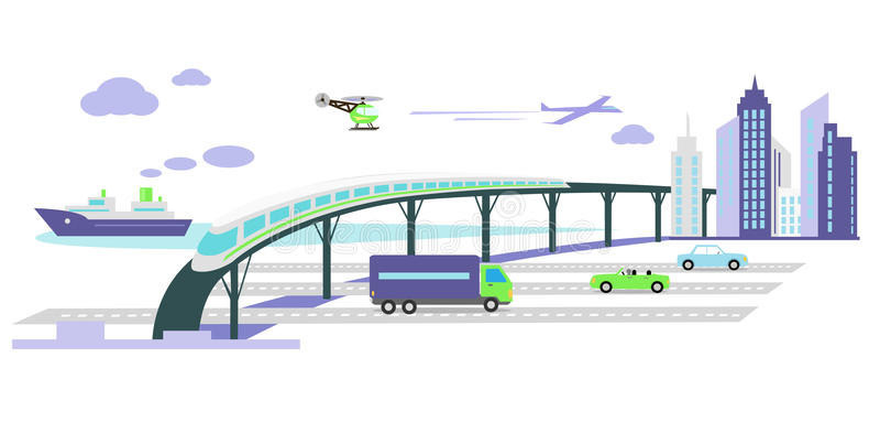 Utveckling av lägenheten för symbol för transportinfrastruktur royaltyfri illustrationer