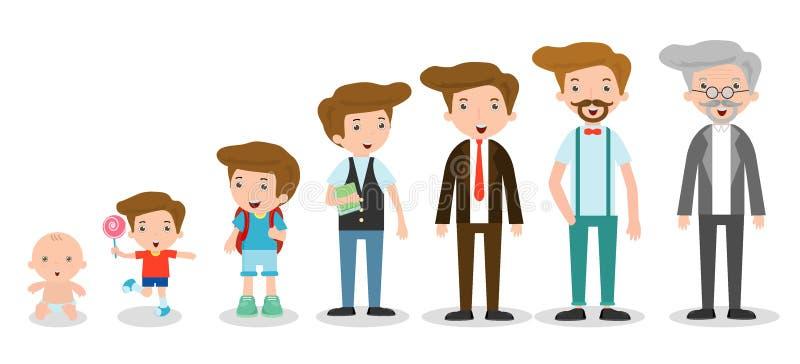 Utveckling av mannen från spädbarn till junior Alla åldras kategorier isolerat på vit bakgrund, utveckling av män från spädbarn t vektor illustrationer