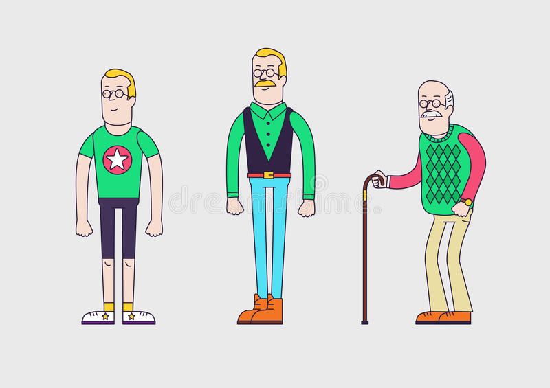 Utveckling av mannen från tonårigt till pensionären royaltyfri illustrationer
