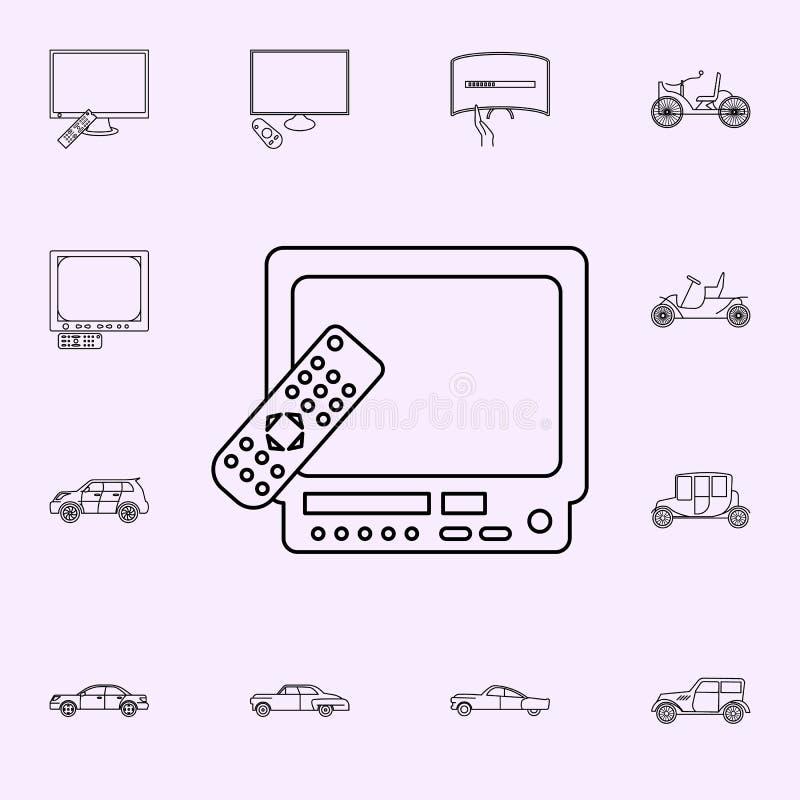 utveckling av tv:ar med fj?rrkontrollsymbolen Universell upps?ttning f?r utvecklingssymboler f?r reng?ringsduk och mobil vektor illustrationer