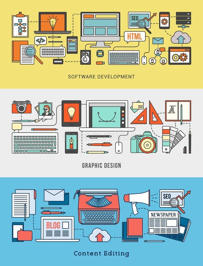 Utveckling, designen och det nöjda redigerande banret ställde in royaltyfri illustrationer