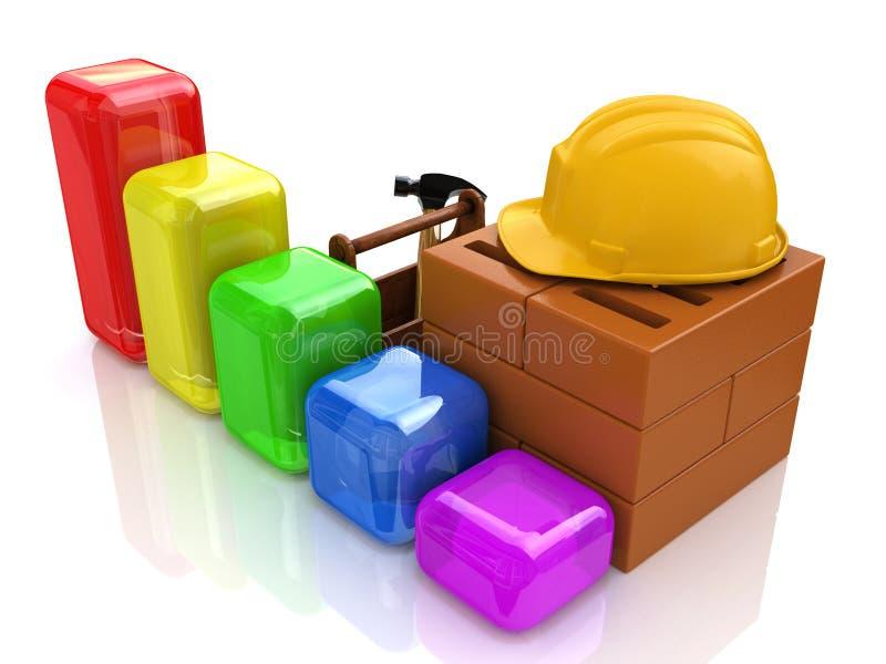Utveckling för affärsdiagram av konstruktionsbransch stock illustrationer