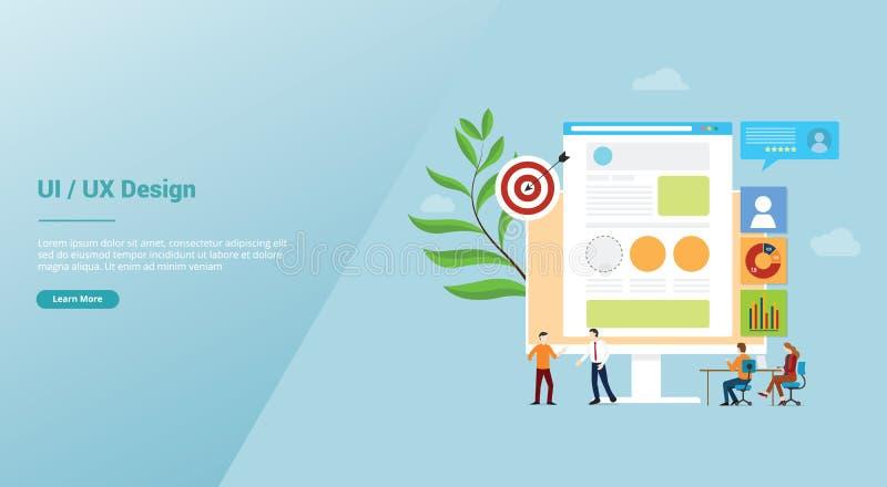 Utveckling för begrepp för Ui uxanvändargränssnitt och för användareerfarenhetsdesign med den lagfolk och webbläsaren för website royaltyfri illustrationer