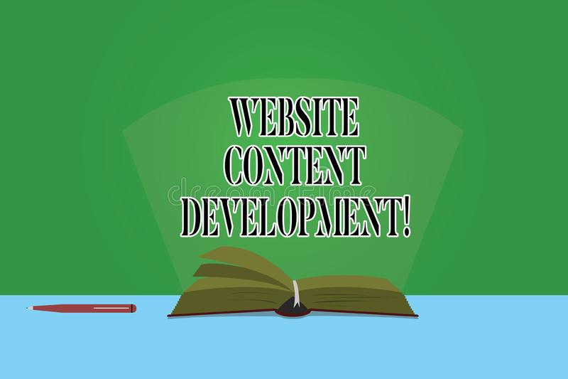 Utveckling för innehåll för Website för textteckenvisning Begreppsmässig fotoprocess av att utfärda information som avläsare för  stock illustrationer