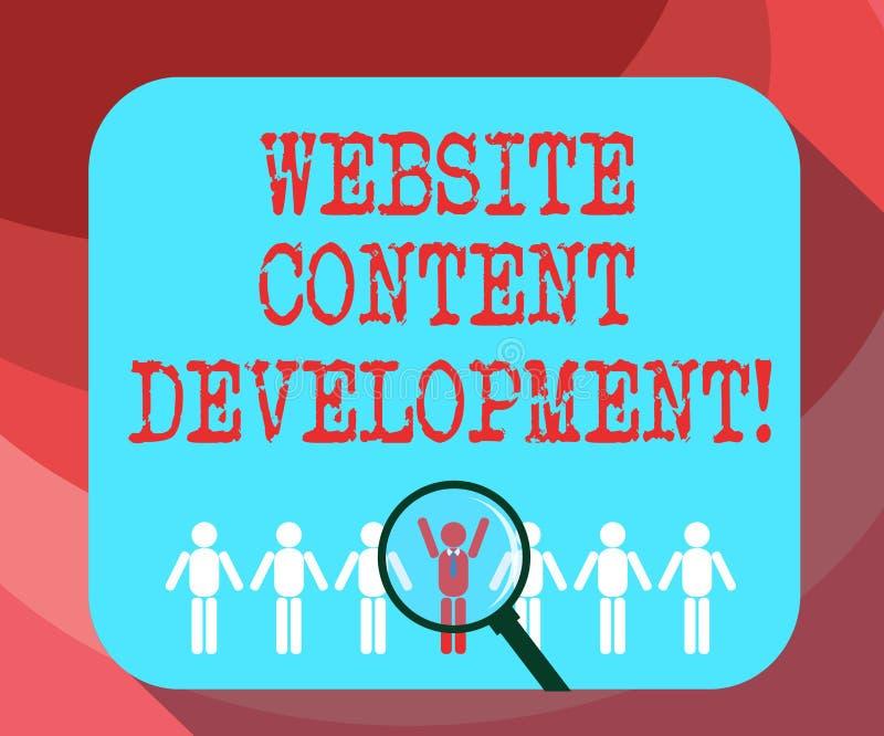 Utveckling för innehåll för Website för textteckenvisning Begreppsmässig fotoprocess av att utfärda information som avläsare finn royaltyfri illustrationer