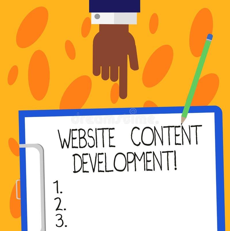 Utveckling för innehåll för Website för textteckenvisning Begreppsmässig fotoprocess av att utfärda information som avläsare finn vektor illustrationer