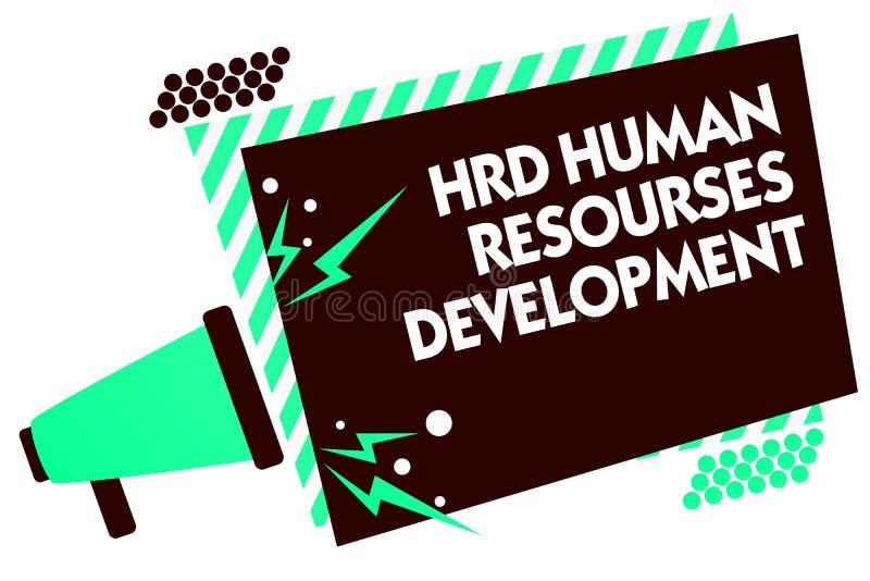 Utveckling för personalresurser för Hrd för ordhandstiltext Affärsidéen för hjälpande anställda framkallar personlig expertismega stock illustrationer