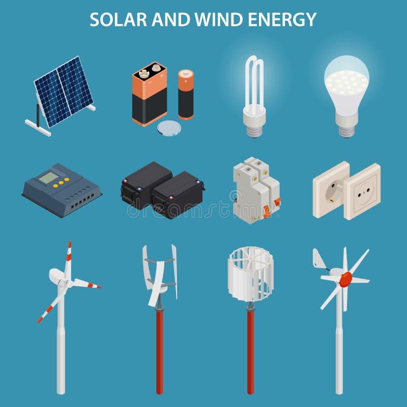 Utveckling för sol- och vindenergi elektrisk utrustning vektor för set för tecknad filmhjärtor polar vektor illustrationer