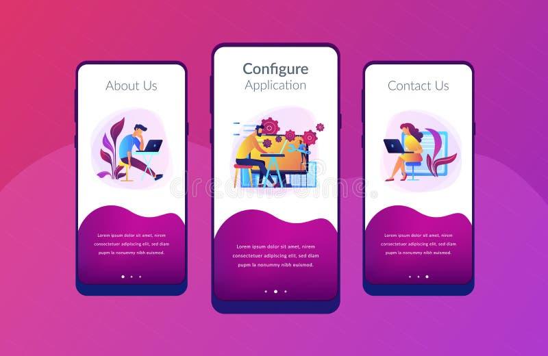 Utveckling för tillbaka slut det app-manöverenhetsmall vektor illustrationer