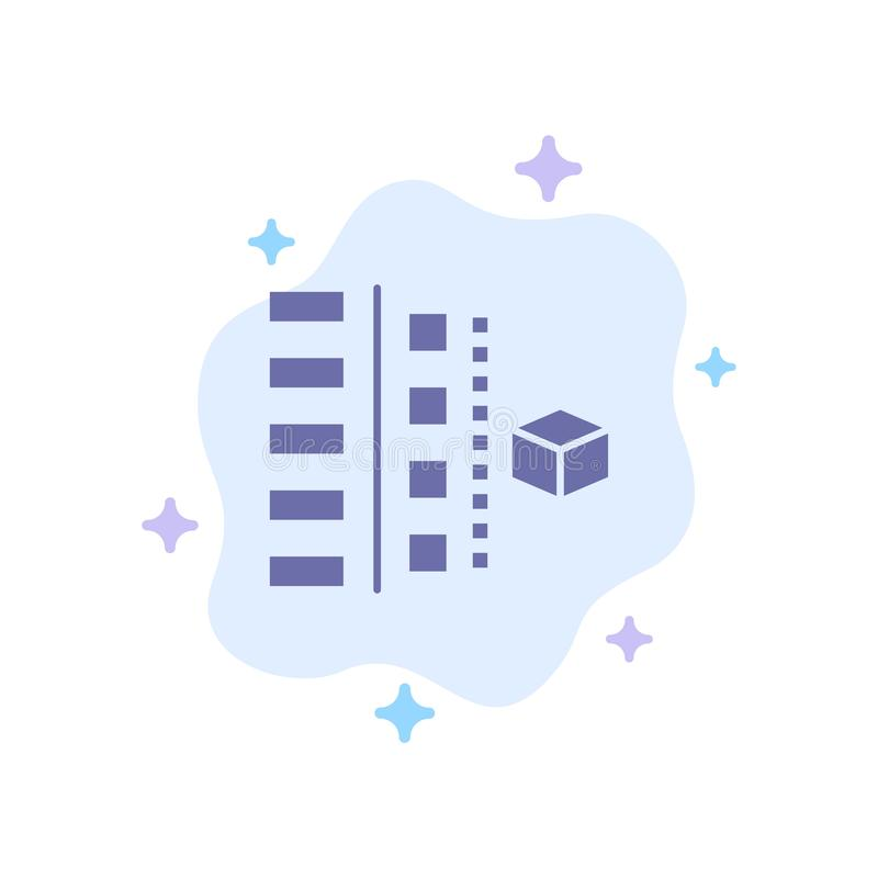 Utveckling faser, plan, planläggning, blå symbol för produkt på abstrakt molnbakgrund vektor illustrationer