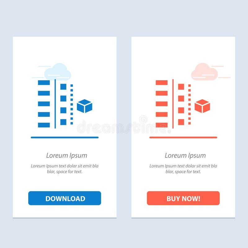 Utveckling, faser, plan, planläggning, produktblått och röd nedladdning och att köpa nu mallen för rengöringsdukmanickkort stock illustrationer