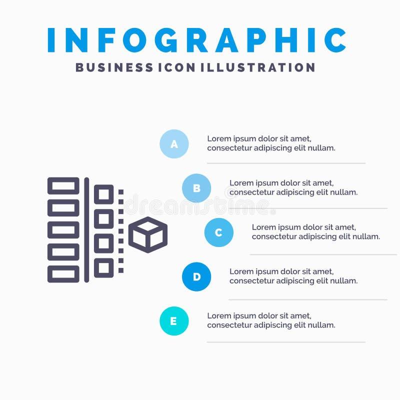 Utveckling faser, plan, planläggning, produktlinje symbol med för presentationsinfographics för 5 moment bakgrund stock illustrationer