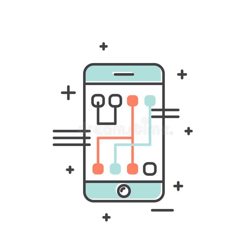 Utveckling, Gestural smart manöverenhet, framtida teknologi, isolerad beståndsdelbakgrund för rengöringsduk och mobil royaltyfri illustrationer