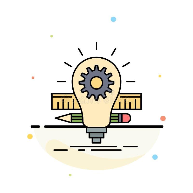 Utveckling idé, kula, blyertspenna, för färgsymbol för skala plan vektor royaltyfri illustrationer