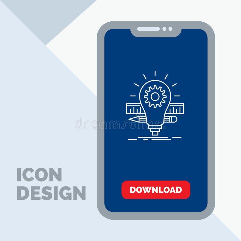 Utveckling idé, kula, blyertspenna, skalalinje symbol i mobilen för nedladdningsida royaltyfri illustrationer