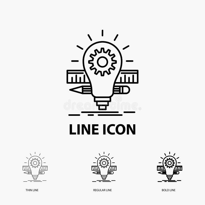 Utveckling, idé, kula, blyertspenna, skalasymbol i tunt, stamgäst och djärv linje stil ocks? vektor f?r coreldrawillustration stock illustrationer