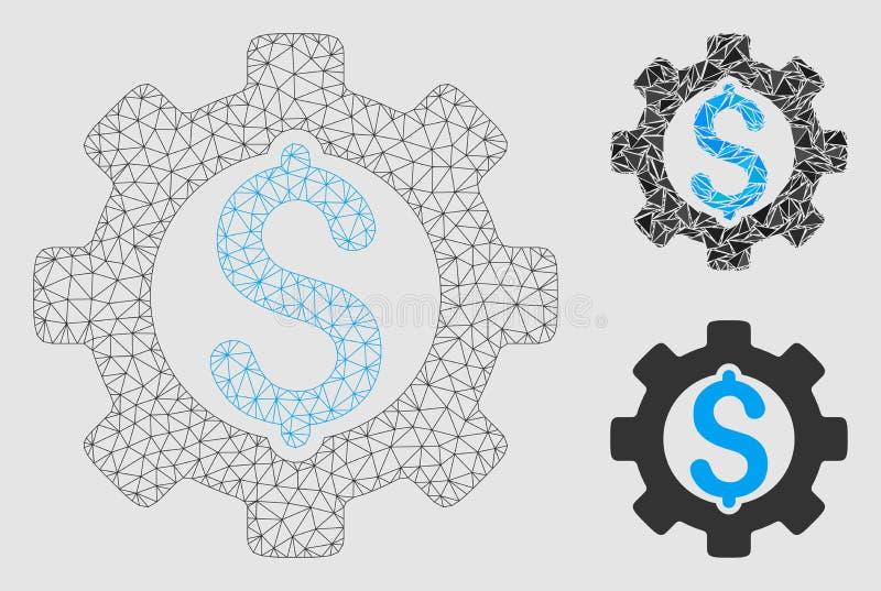 Utveckling kostad vektor Mesh Network Model och mosaisk symbol för triangel royaltyfri illustrationer