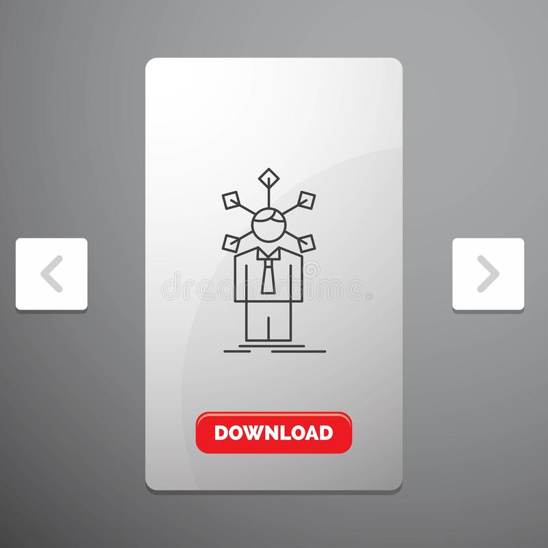 utveckling mänskligt, nätverk, personlighet, självlinje symbol i design för Carousalpagineringsglidare & röd nedladdningknapp royaltyfri illustrationer