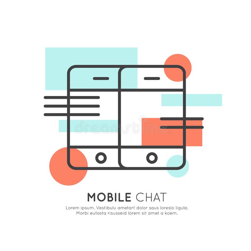 Utveckling meddelandeonline-pratstund royaltyfri illustrationer