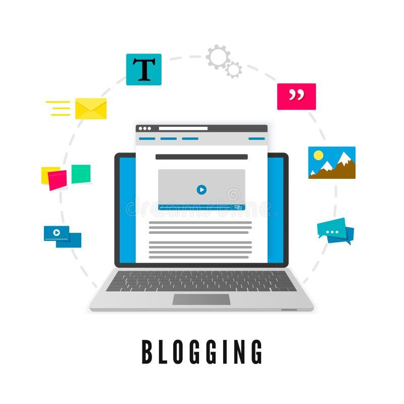 Utveckling och utveckling för Website för publikationsbloggstolpe blogging begrepp Vektorillustration som isoleras på vit bakgrun royaltyfri illustrationer