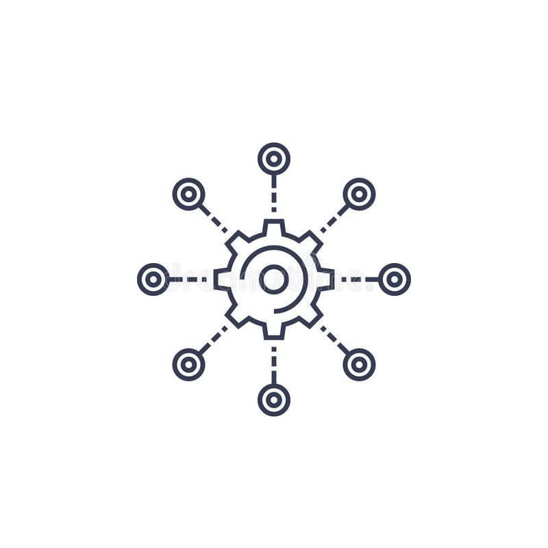 Utveckling programvaruintegration, linje symbol royaltyfri illustrationer