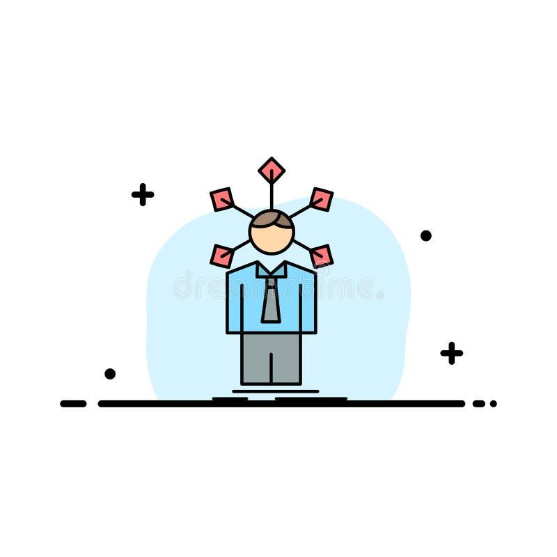 utveckling som är mänsklig, nätverk, personlighet, för färgsymbol för själv plan vektor royaltyfri illustrationer