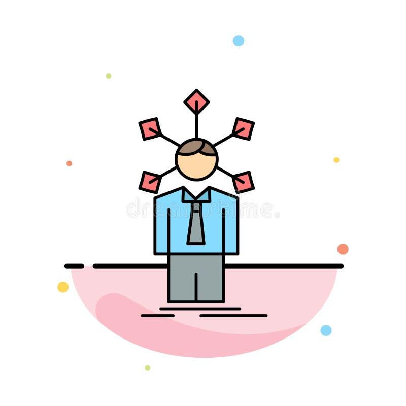 utveckling som är mänsklig, nätverk, personlighet, för färgsymbol för själv plan vektor stock illustrationer