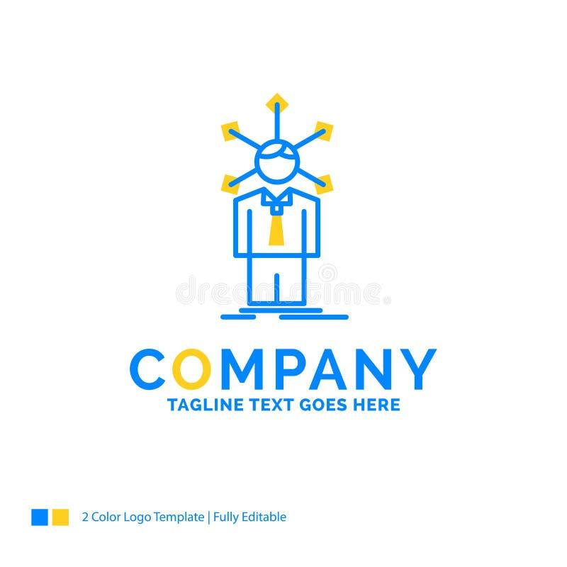 utveckling som är mänsklig, nätverk, personlighet, själv blåa gula Busin royaltyfri illustrationer