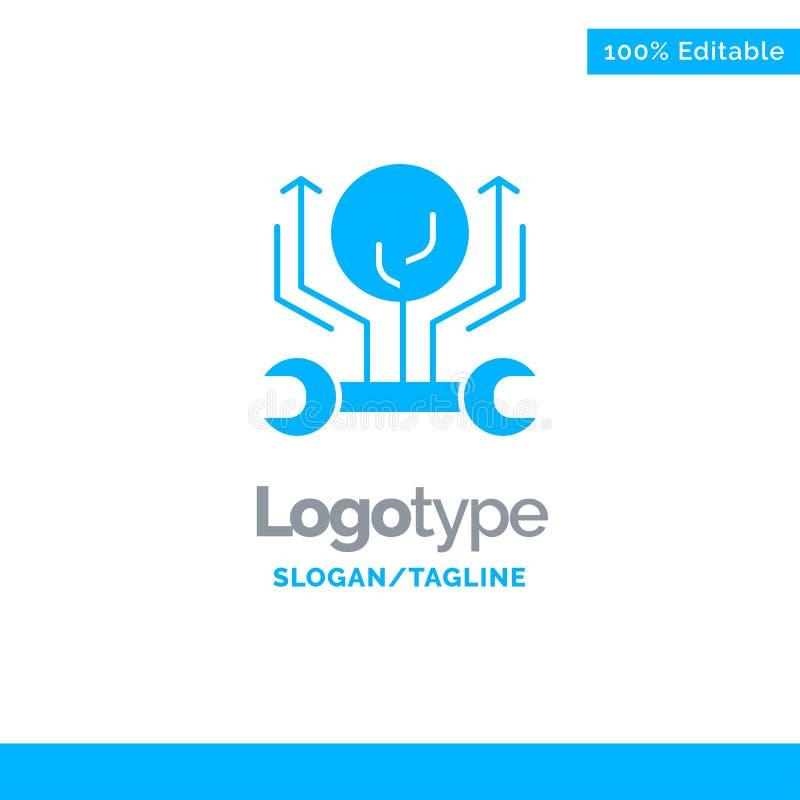 Utveckling teknik, tillväxt, hacka som hackar blåa fasta Logo Template St?lle f?r Tagline stock illustrationer