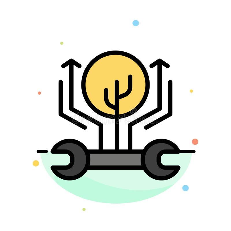 Utveckling teknik, tillväxt, hacka som hackar den abstrakta plana färgsymbolsmallen stock illustrationer