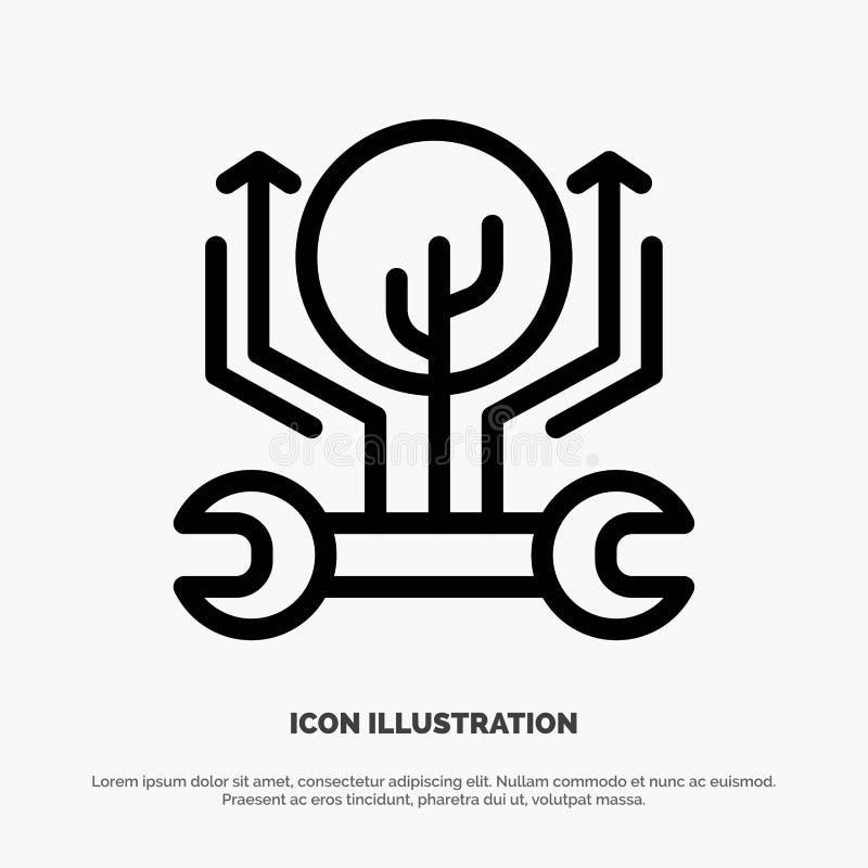 Utveckling teknik, tillväxt, hacka som hackar linjen symbolsvektor vektor illustrationer