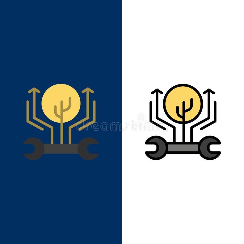 Utveckling teknik, tillväxt, hacka som hackar symboler Lägenheten och linjen fylld symbol ställde in blå bakgrund för vektorn vektor illustrationer