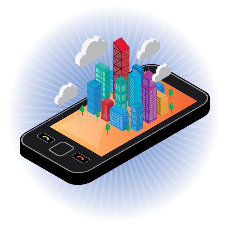 Utveckling till och med digital kommunikation royaltyfri illustrationer