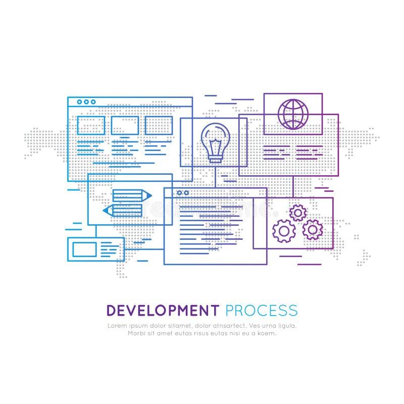 Utveckling, webbplats som programmerar, SEO, Wireframing och planläggande process vektor illustrationer
