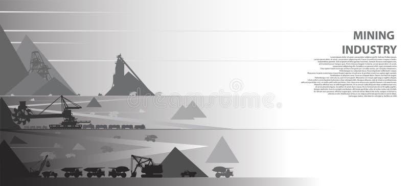 Utvecklingen av mineraler vid den öppna gropen i villebråd royaltyfri illustrationer