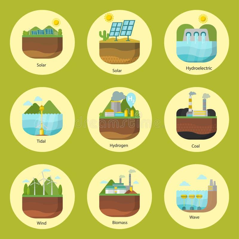 Utvecklingsenergi skriver den tidvattens- förnybara alternativa källan för kraftverkvektorn som är sol- och, vind och geotermiskt royaltyfri illustrationer