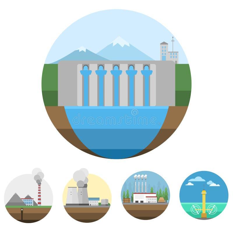 Utvecklingsenergi skriver illustrationen för vågen för kraftverksymbolsvektorn den förnybara alternativa sol- stock illustrationer